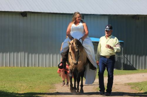 My trusty guy Chex was with me on my wedding day.  My dad has never been a fan of horses, and does not share my love of Chex, so I waited until the morning of my wedding to tell him he would be walking me up the aisle, right next to Chex.